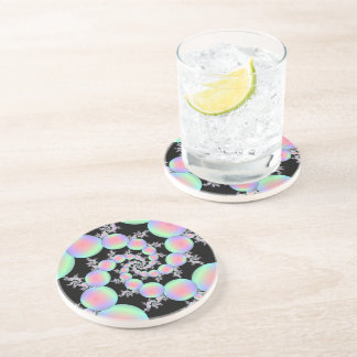 Pink and Turquoise Balloon Spiral Drink Coasters