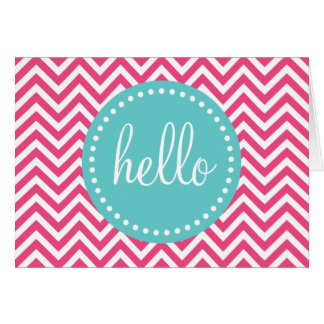 Pink and Turquoise Chevron Hello Card
