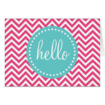 Pink and Turquoise Chevron Hello Greeting Cards