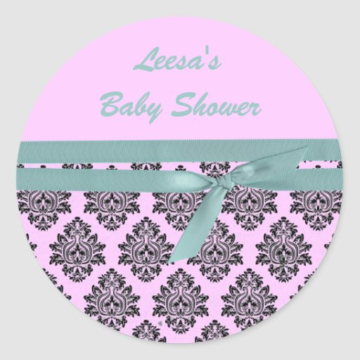 pink and turquoise damask baby shower stickers zazzle