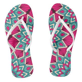Pink and turquoise floral mandala pattern flip flops