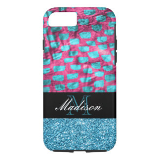 Pink and Turquoise Glitter Pattern Modern Monogram iPhone 8/7 Case