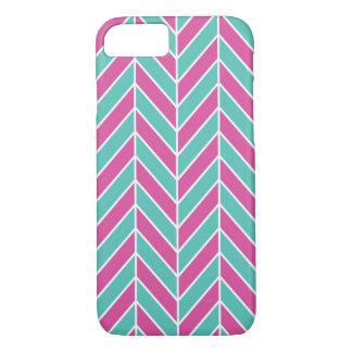 Pink And Turquoise Herringbone iPhone 7 Case