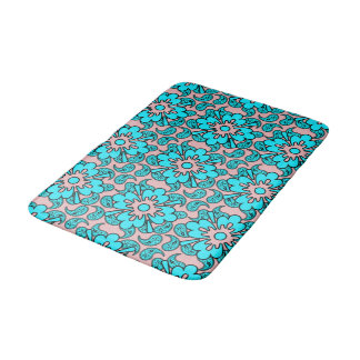 Pink And Turquoise Paisley Pattern Bath Mat