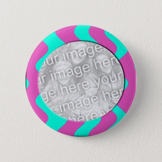 pink and turquoise photo frame 6 cm round badge
