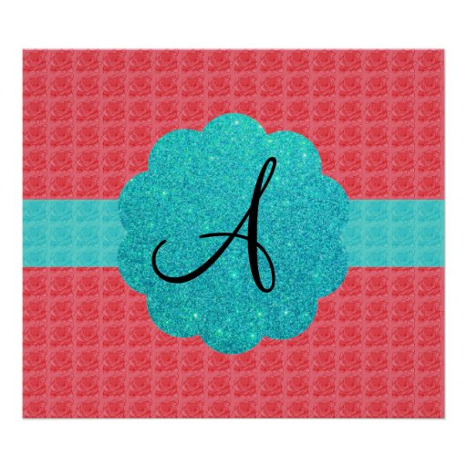 Pink and turquoise roses monogram poster