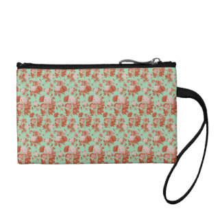 Pink and Turquoise Vintage Floral Coin Purse