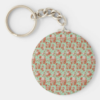 Pink and Turquoise Vintage Floral Keychain