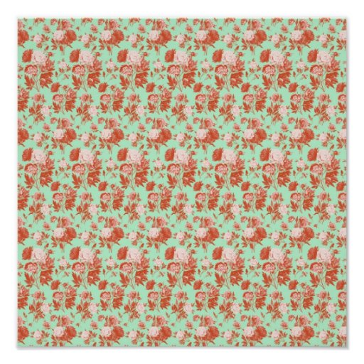 Pink and Turquoise Vintage Floral Photographic Print