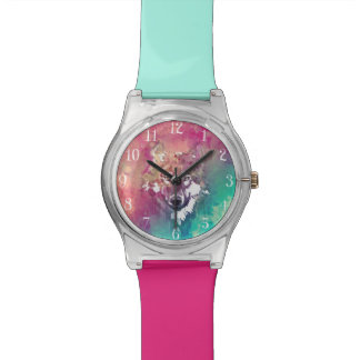 Pink And Turquoise Watercolor Artistic Wolf Watch
