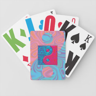 Pink and Turquoise Yin Yang Symbol Bicycle Playing Cards
