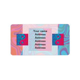 Pink and Turquoise Yin Yang Symbol Label