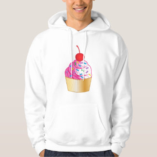Pink and Vanilla Cupcake with Sprinkles and Cherry Hoodie