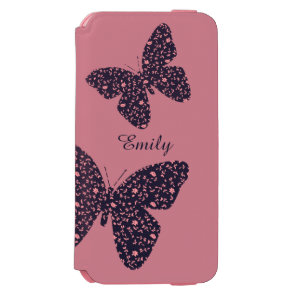 Pink and Violet Floral Butterfly Incipio Watson™ iPhone 6 Wallet Case