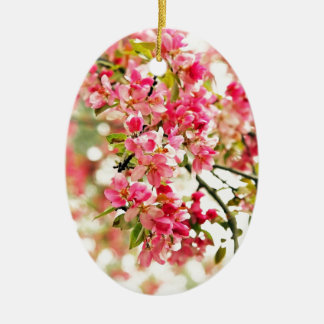 Pink and White Apple Blossoms Christmas Ornament