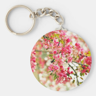 Pink and White Apple Blossoms Keychains