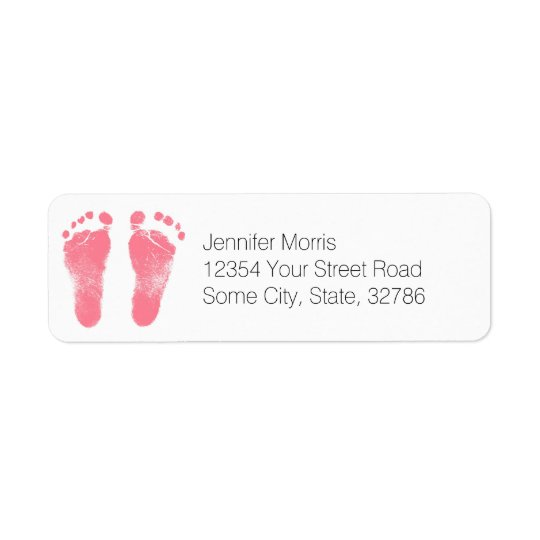 Pink and White Baby Footprints Return Address Label