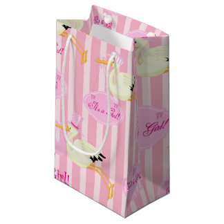 Pink and White Baby girl stork Small Gift Bag