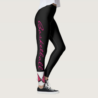 Pink and White Basketball Leggings