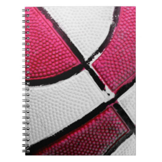 Pink and White Basketball Spiral Notebook