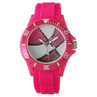 Pink and White Basketball Watch