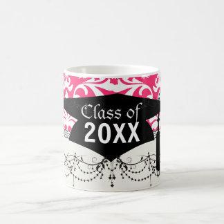 pink and white bird damask pattern graduation mugs