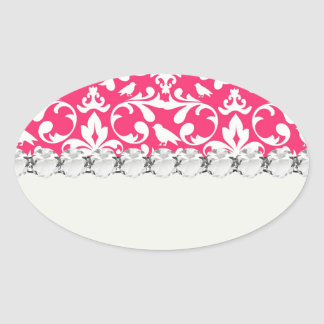 pink and white bird damask pattern stickers