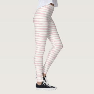 Pink and White Boho Stripes Leggings