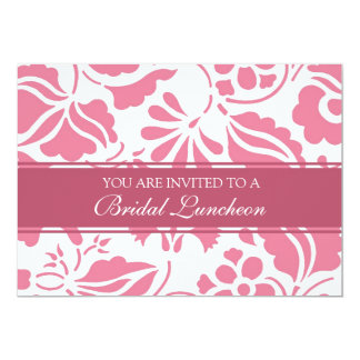 Pink and White Bridal Luncheon Invitation Cards