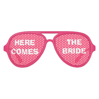 Pink and White Bride's Party Eye Glasses