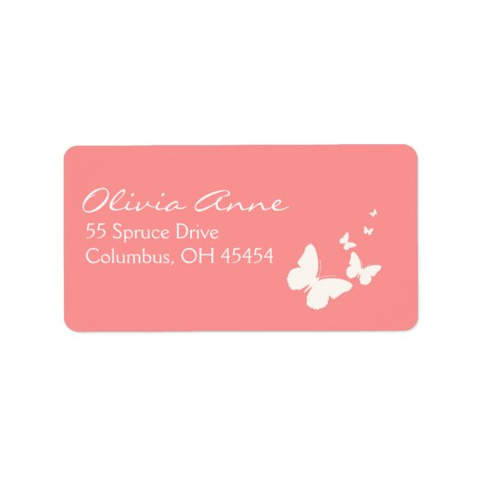 Pink and White Butterfly Address Lables Label