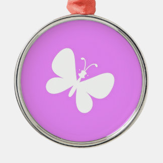 Pink And White Butterfly Christmas Ornament