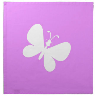 Pink And White Butterfly Napkin