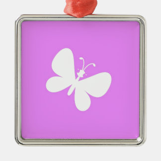 Pink And White Butterfly Silver-Colored Square Decoration