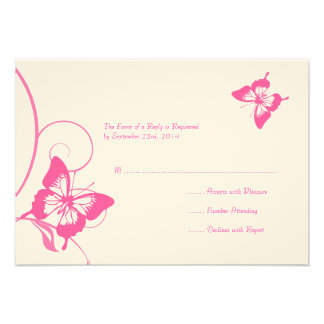 Pink and White Butterfly Wedding RSVP Custom Announcement