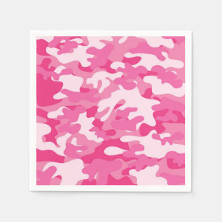 Pink and White Camo Design Disposable Napkins