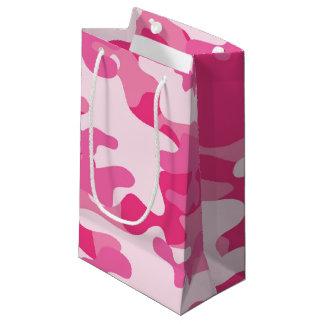 Pink and White Camo Design Small Gift Bag