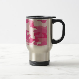 Pink and White Camo Design Stainless Steel Travel Mug