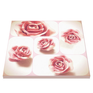 Pink and White Candy Rose Collage Stretched Canvas Print
