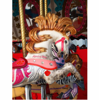 Pink and white carousel horse photograph fair photo sculpture badge