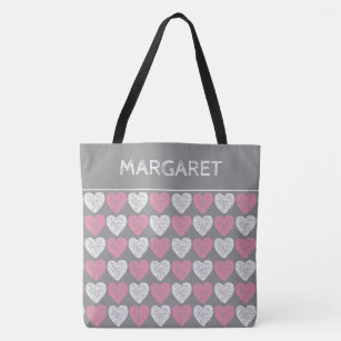 09b2f27f4f Pink and White Chalkboard Hearts Personalized Tote Bag