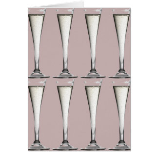 Pink and White Champagne Glass Flutes Card