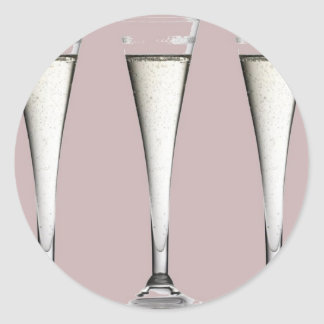 Pink and White Champagne Glass Flutes Classic Round Sticker