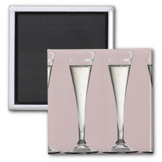Pink and White Champagne Glass Flutes Fridge Magnet