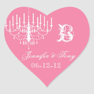 Pink and White Chandelier Custom Heart Stickers