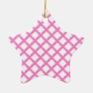 Pink and White Checkboard Fabric Print Ceramic Star Decoration