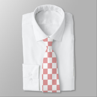 Pink and White Checkers Tie