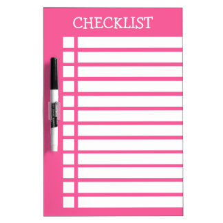 Pink And White Checklist Dry Erase Board