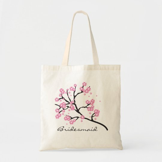 Pink and White Cherry Blossom Floral Bridesmaid Tote