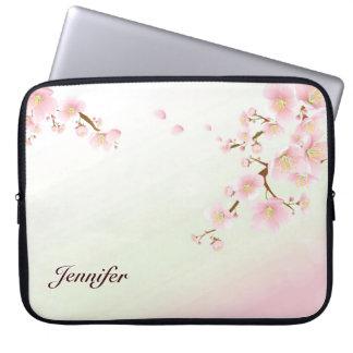 Pink And White Cherry Blossom Nature Monogram Computer Sleeve
